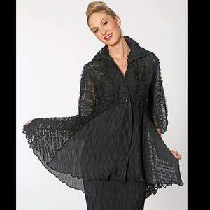 Jes Irie Sheer black feminine ruffled top jacket L